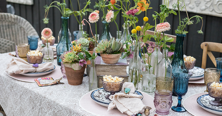 An image of a pastel theme spring decorated dinning set