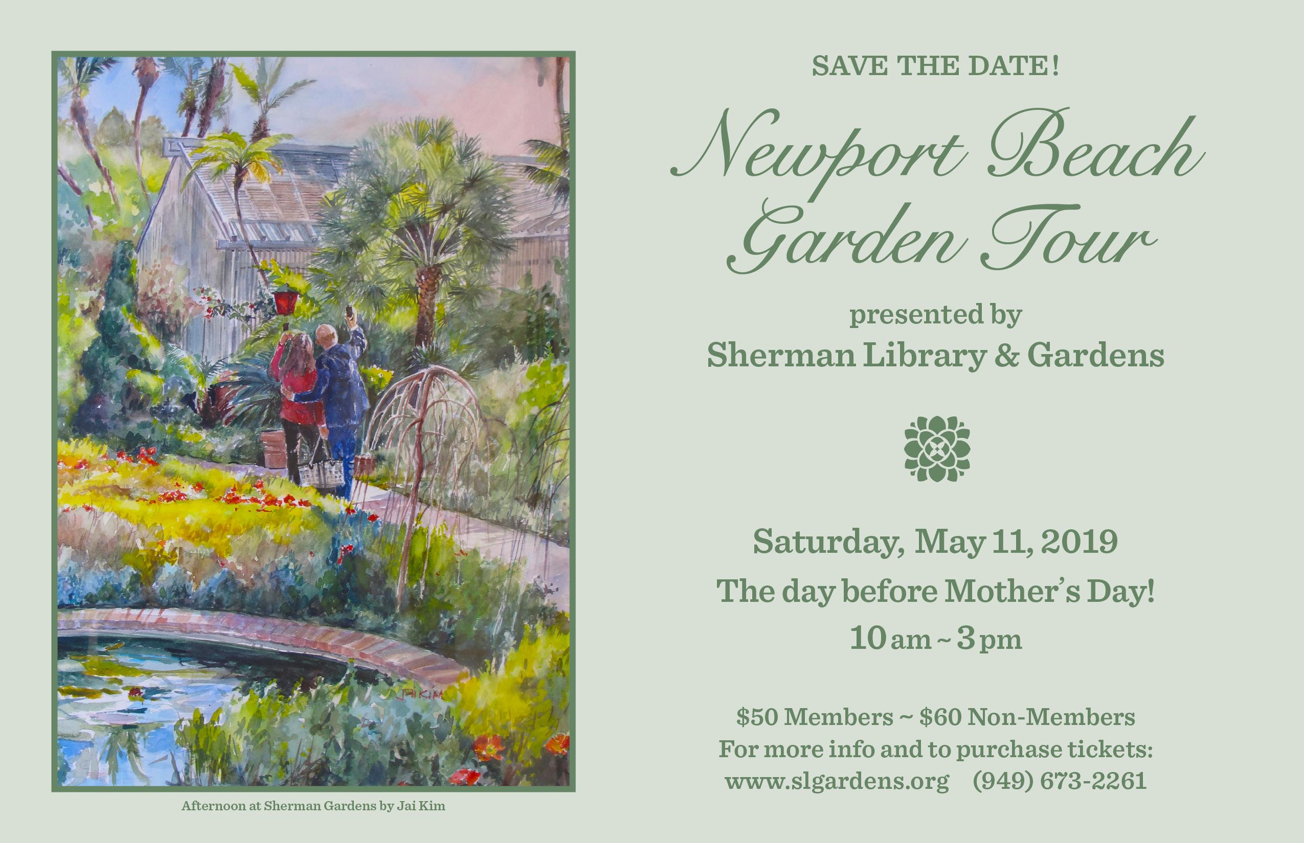An image of the Newport Beach Garden Tour invitation