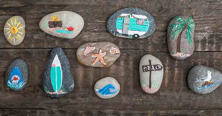 An image of detailed painted rocks for Summer workshop