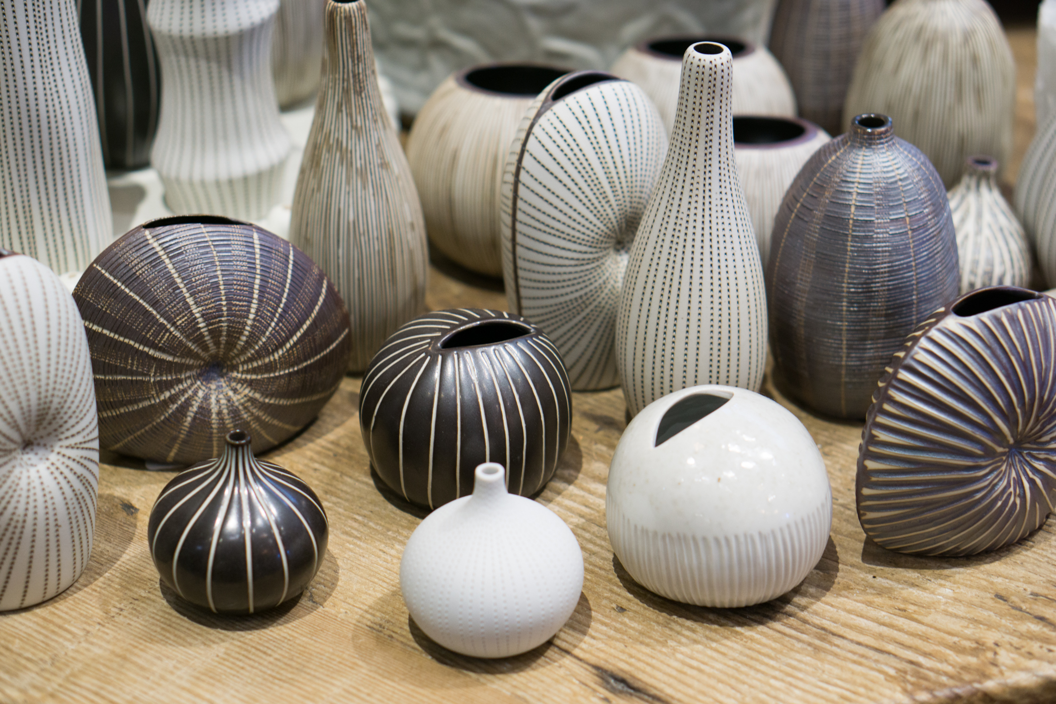 An image of a black and white art ceramic vases