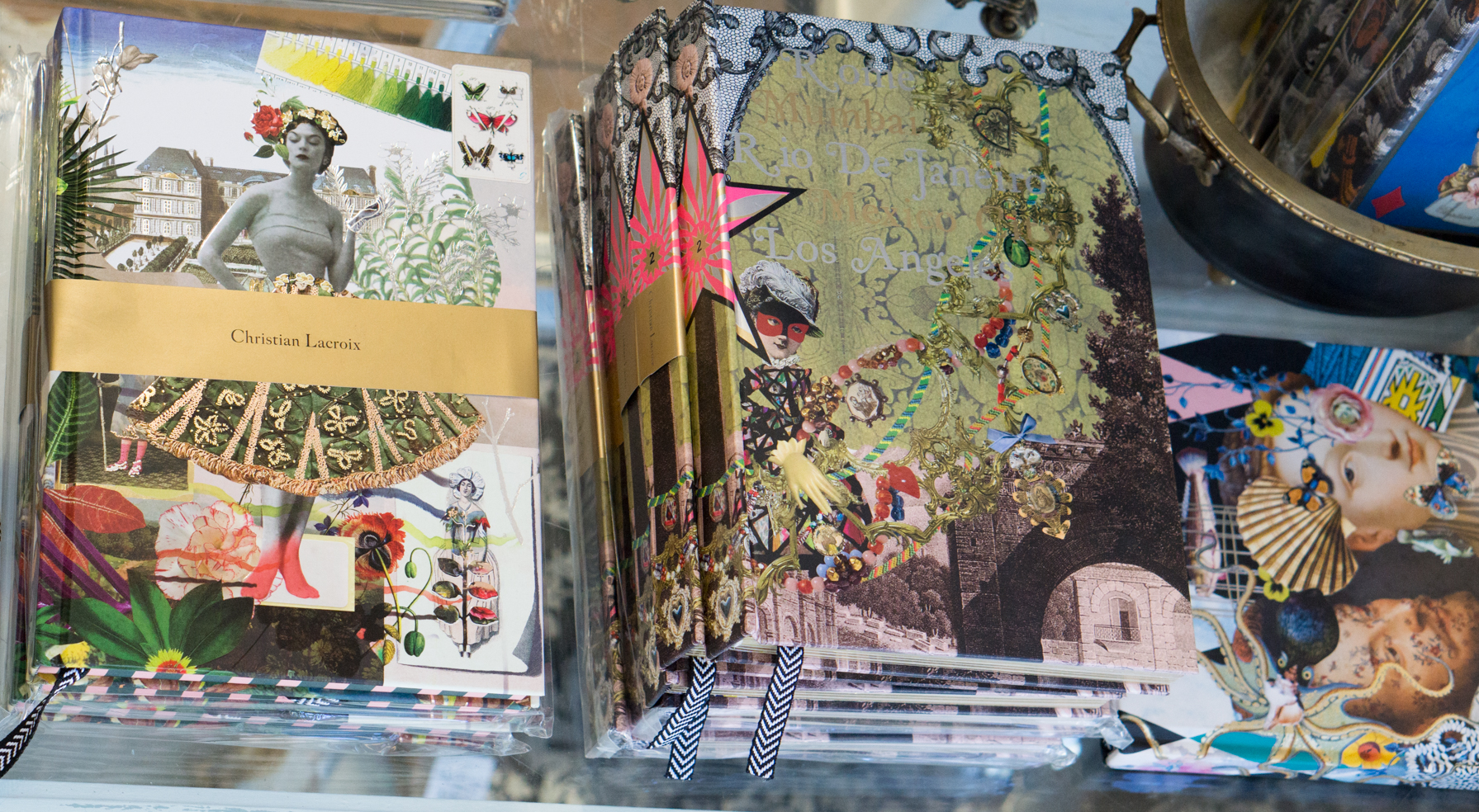 An image of the various types Christian Lacroix decorated journals