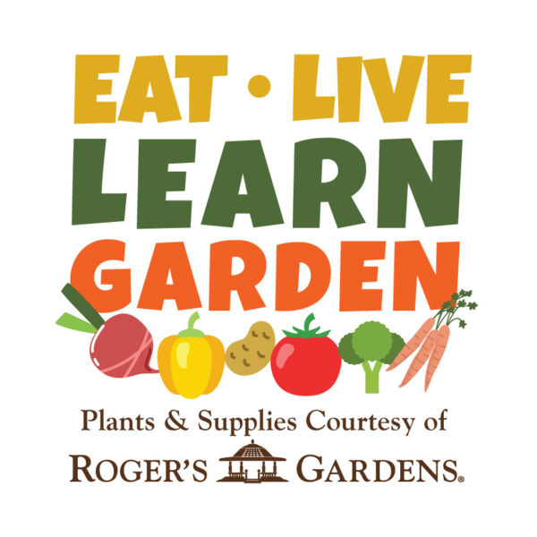 An image of the words eat, live, learn garden plants and supplies courtesy of Roger's Gardens