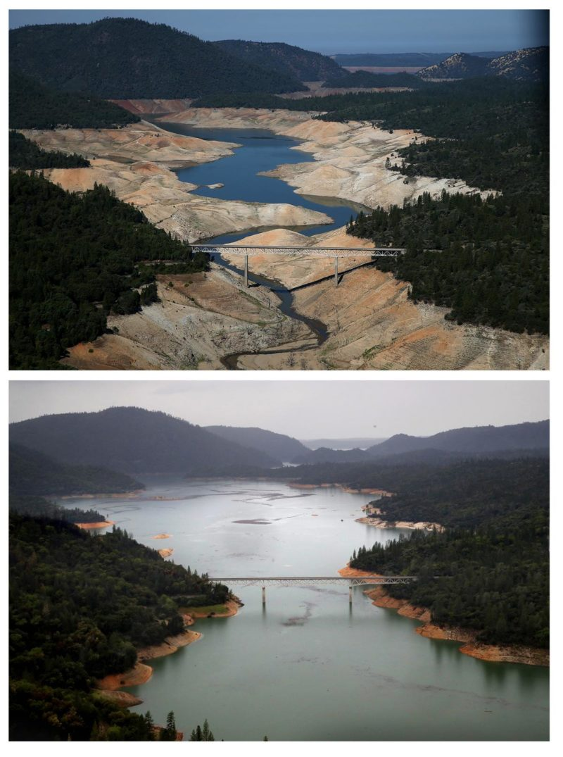 Two images top photo one showing a river in a drought bottom photo showing the area around the river has grown up and the water in the river is higher