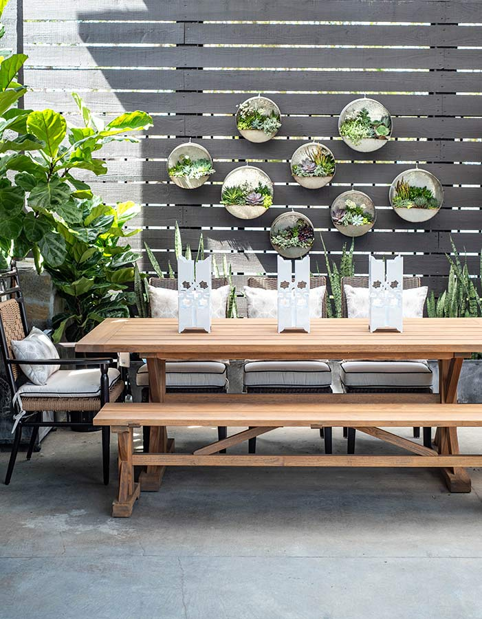 A side image of the low country Teak Dining Set