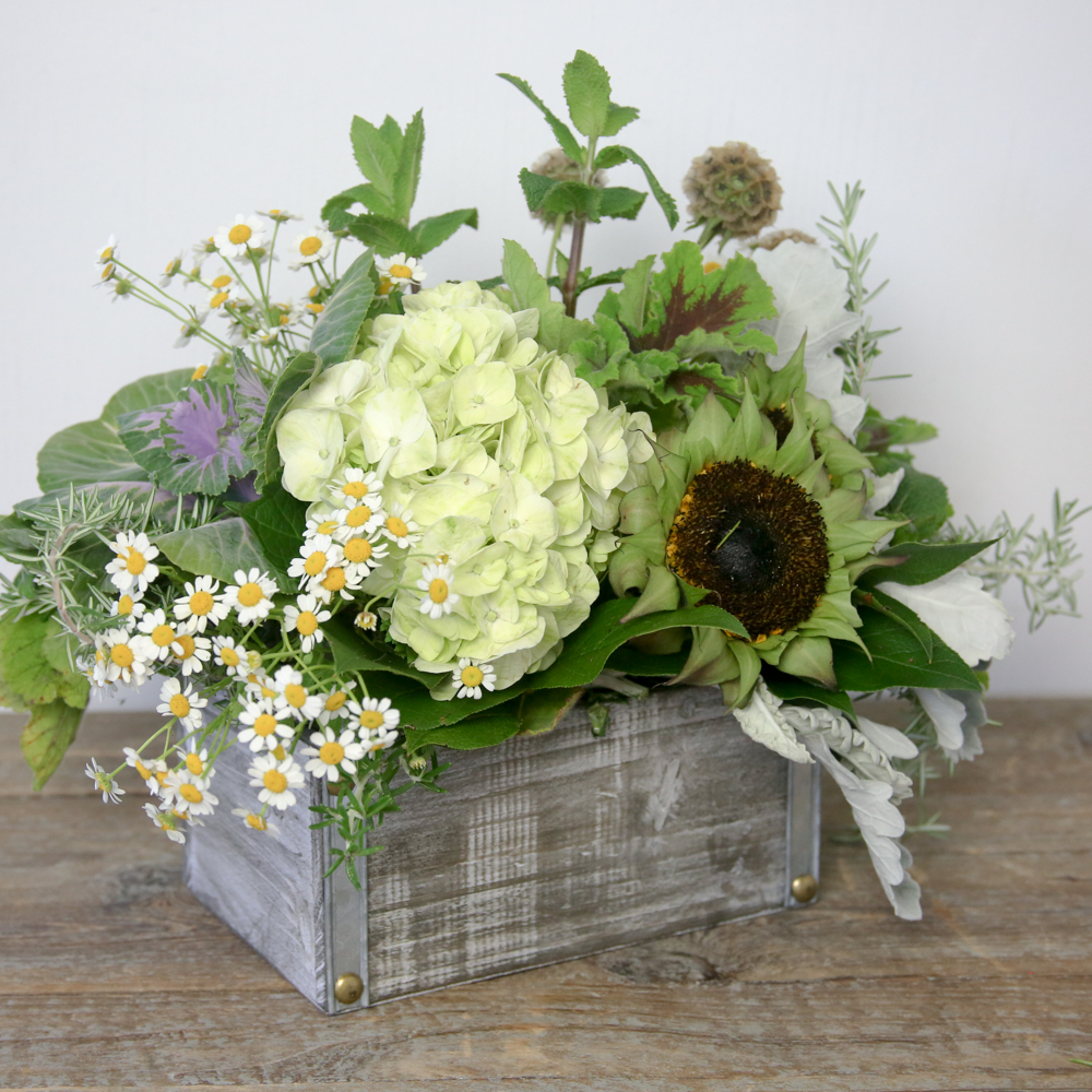 An image of the fresh flowers, cut herbs arranged in a galvanized metal container for the summer floral workshop