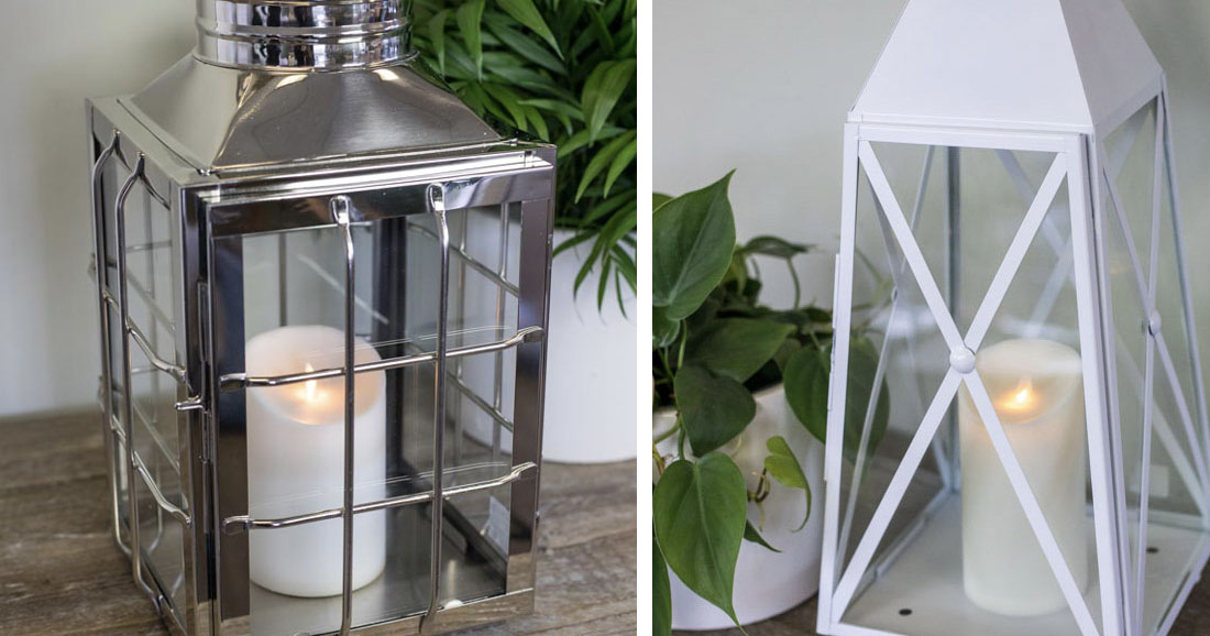 An image of an Nantucket outdoor lantern and a white lantern