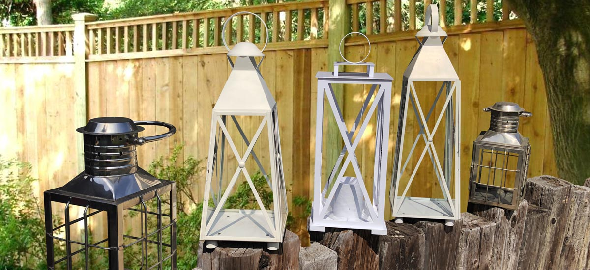 An image of three different types of outdoor lanterns lanterns
