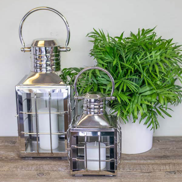 An image of Nantucket silver paired outdoor lanterns