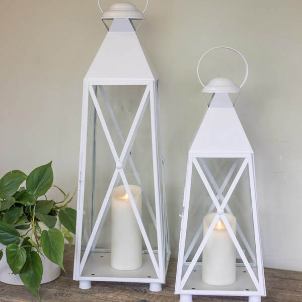 An image of white pair outdoor lanterns