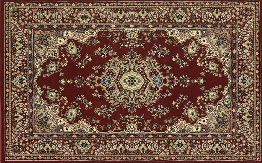 An image of a dark red patterned rug