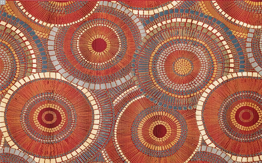 An image of a circle colorful patterned rug